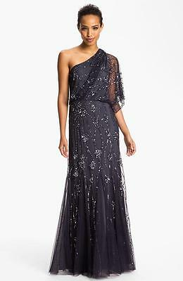 Adrianna Papell Beaded One Shoulder Gown-Size 8