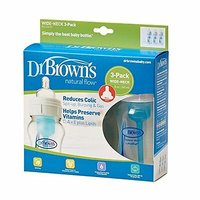 Dr Browns Natural Flow 3 Wide Neck Bottles Level 1 Newborn anti Colic 240ml 8oz