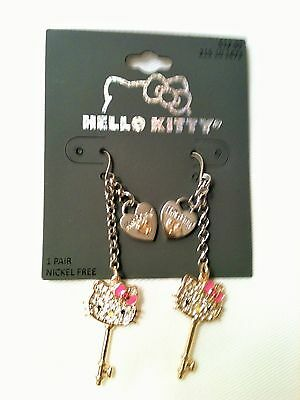 Authentic Hello Kitty Pave Crystal Face Drop/Dangle Hook Earrings by Sanrio NEW!