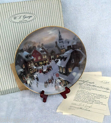 1988 W S George Collector Plate Christmas Eve COA 2nd in Series