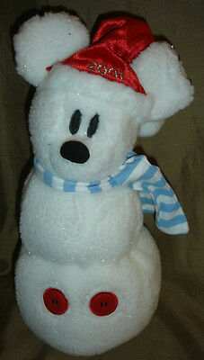 Holiday CHRISTMAS Disney Store MICKEY MOUSE Snowman PLUSH 2001