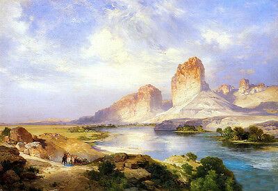 Art oil Thomas Moran - Green River Wyoming with river landscape free shipping