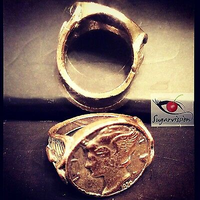 Antique 1939 Art Deco Dime Ring With Scrolls On Each Side Beautiful Size 6.5