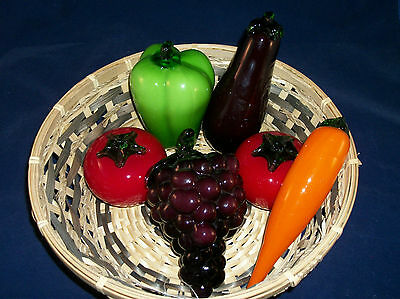 Vintage Murano Style Hand Blown Art Glass Fruit And Vegetables nice Lot 6 Pcs