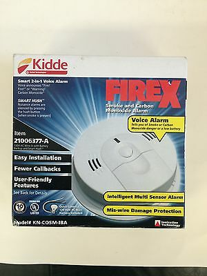 New Kidde Firex Smoke and Carbon Monoxide Voice Alarm KN-COSM-IBA Wire-in (AC)