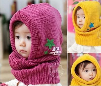 Fashion Baby Kids Girls Boys Toddler Winter Warm Knitted Beanie Hat Cap Red