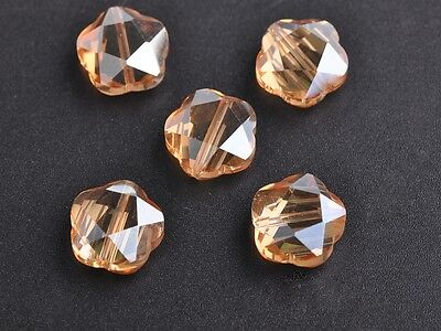 8pcs 14mm Flower Charms Faceted Crystal Glass Loose Spacer Beads Amber Gold