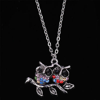 Vintage Jewellery Silver Cute Colorful Crystal Two Owls Pendant Necklace 20''