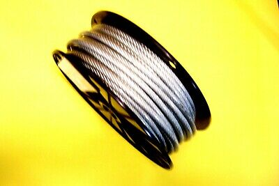 """Clear Vinyl Coated Wire Rope Cable, 3/16"""" - 1/4"""", 7x19, 100 ft reel"""