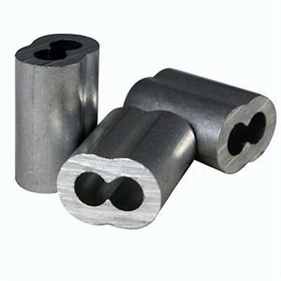 "100 Aluminum Sleeves for Wire Rope Cable, 1/8"" , Made in USA"