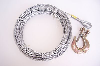 """3/16"""" x 100 ft Galvanized Wire Rope Winch Cable + 1/4"""" Grade 70 Clevis Slip Hook"""