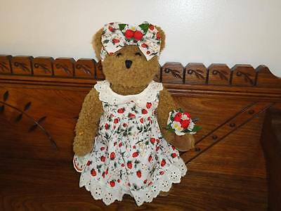 Avon Canada Hat Box Teddies STRAWBERRIE Bear 13 in.