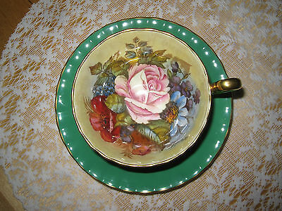Aynsley China Cup & Saucer Green with Pink Rose Floral Design Signed Bailey