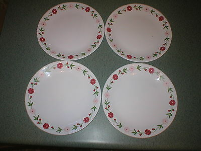 """Lot of 4  Corelle Corning SPRING PINK Flowers 10 1/4"""" Dinner Plates  EXCELLENT"""