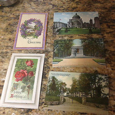 VINTAGE LOT 5 Post Cards, Greetings Birthday Church Home Monument
