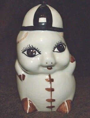 "VINTAGE 1950'S SMALL 5"" HAND PAINTED PIGGY BANK WITH A BEANIE UNKNOWN MAKER"