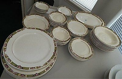 """Vintage Dishware 60 pc- Knowles and TCCP Co. """"Chartreuse Alladin"""""""