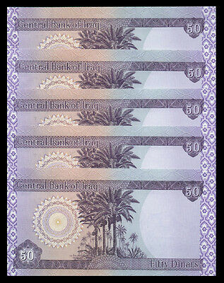 5,000 NEW IRAQI DINAR 5 X 1000 Uncirculated Lot Of 5 - 5000 From New Bundle