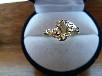 CITRINE&Diamond gen.NATURAL Marquise cut 8x4mm DIVINE solid 9k yellow gold RING
