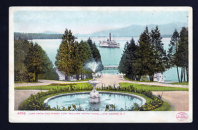 1904 steamer Piazza view Fort William Henry Hotel Lake George New York postcard
