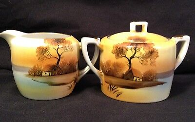 BEAUTIFUL VINTAGE NORITAKE CREAM AND SUGAR GREAT FALL COLORS EXCELLENT COLORS