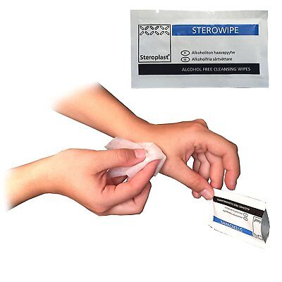 100 packs x Steroplast Alcohol Free Cleansing Wound Care Wipes