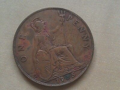 1935 English British one Penny coin - L3