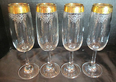 Cellini Crystal Champagne Flute Gold Gilt Encrusted Band Etched Scroll 24 K