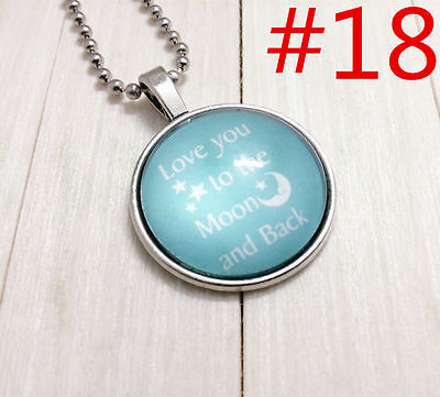 """Handmade""""I LOVE YOU""""metal/glass necklace gift for family.lovers chain 17''#BB18"""