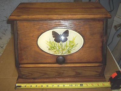 bread box wood wooden flip front brown color butterfly face