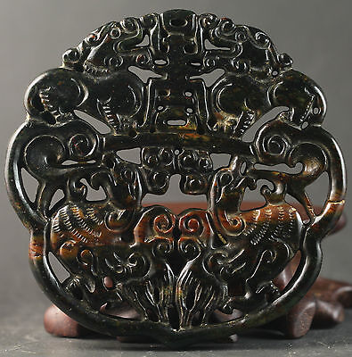 Chinese old jade hand-carved double dragon and phenix design pendant 2.6 inch
