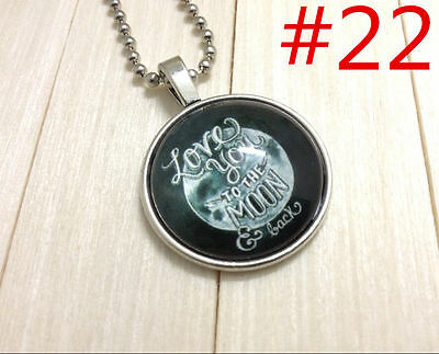 """Handmade""""I LOVE YOU""""metal/glass necklace gift for family.lovers chain 17''#BB22"""