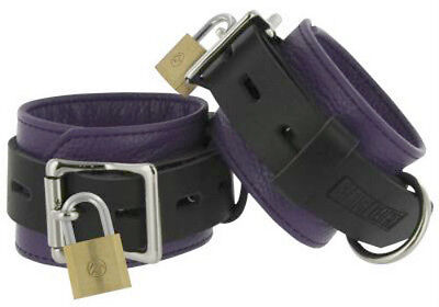 Strict LEATHER DELUXE LOCKING CUFFS hand lockable Wrist Ankle Black & PURPLE