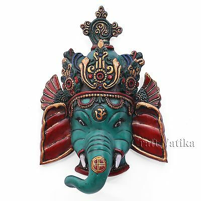 Green Ganesha Wall Hanging Mask Elephant God Art Decor Home Sculpture Nepal