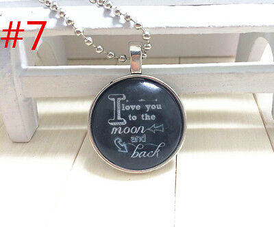 """Handmade""""I LOVE YOU""""metal/glass necklace gift for family.lovers chain 17''#BB7"""