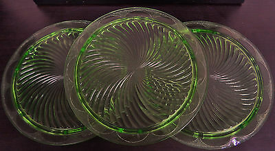 "Set of 3 Jeanette Green depression Glass 10"" Footed Cake Plate Swirl Pattern"