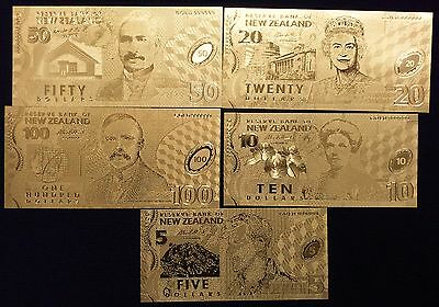 SET NEW ZEALAND DOLLAR GOLD BANKNOTE FOR COLLECTION. Polymer Gold Foil Bank note