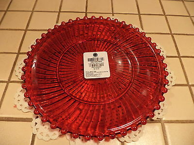"MARTHA STEWART RUBY RED GLASS PLATES- 8""  RIBBED/BEADED DESSERT/CAKE PLATE-NEW"