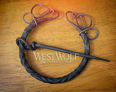 Hand-Forged Twisted Black Iron Brooch - Medieval Viking Knotted Fibula Cloak Pin
