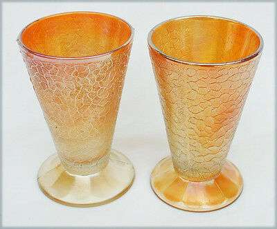 2 Jeannette crackle carnival glass tumbler glasses set of 2 one as is Jeanette
