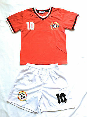 UNISEX RED MANCHESTER FOOTBALL KIT- Ages 2 years to 14 Years