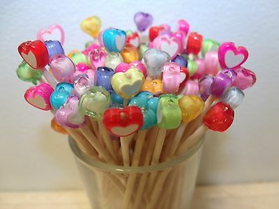 40 Pink Purple Valentines Red Day Hearts Toothpicks  Party Picks Plastic Skewers