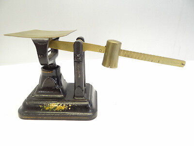 Antique Old Cast Iron Brass Painted Floral Pattern Fairbanks Coin Postage Scale
