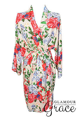 Cream Floral Print Vintage Rayon Cotton Robe Dressing Gown Wedding Bride