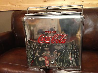 Antique Stainless Coca Cola Picnic Cooler