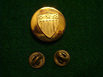 VINTAGE KREW US MILITARY RAISED TWO PIECE SHIELD GOLD PLATED LAPEL PIN RARE!!!