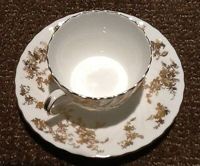 BEAUTIFUL GOLD & WHITE MINTON ANCESTRAL CUP & SAUCER EXCELLENT