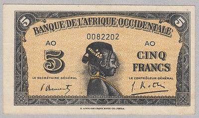 French West Africa ( L'Afrique Occidentale ) 5 Francs 1942 XF aUNC P 28b