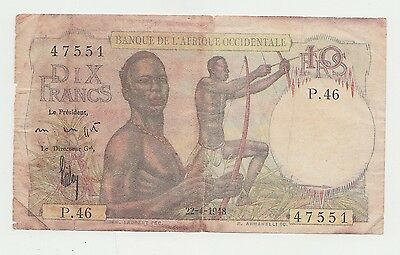 French West Africa 10 Francs 1948 VG Banknote P 37