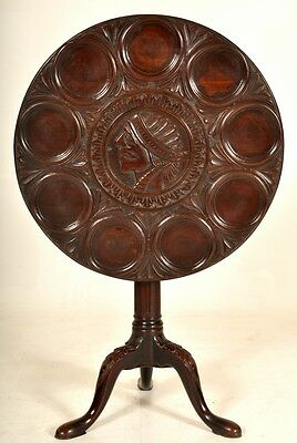 Antique rare Federal mahogany supper table Native American Indian New York 1790